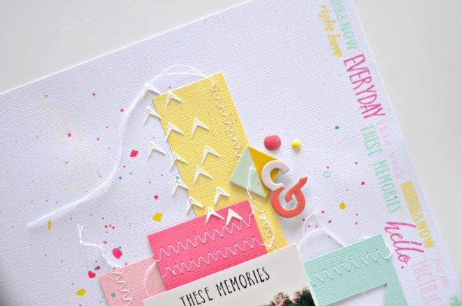 using stencil on scrapbook layout